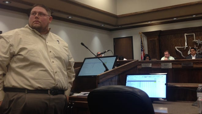 Tom Lang, non-voting Lake Wichita Revitalization Committee member talks about the lake during a special council session. The lake has three projects included on the bond for nearly $4 million.