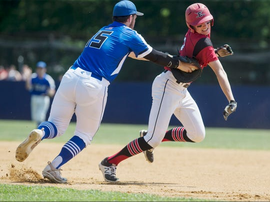 Middlesex's Mike Salerno puts a tag on baserunner Robbie Leuck. Middlesex defeats Emerson in NJSIAA Group I championship game played at Toms River High School North. 