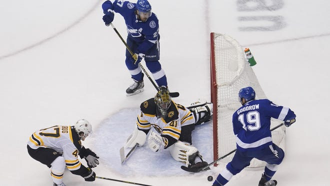 Bruins goaltender Jaroslav Halak makes a save against Tampa Bay Lightning center Barclay Goodrow during the second period in Game 1 of their second-round playoff series Sunday in Toronto.