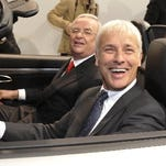 Matthias Mueller, behind the wheel, is expected to succeed Martin Winterkorn, who resigned as Volkswagen CEO in the wake of the automaker's emission-cheating scandal.