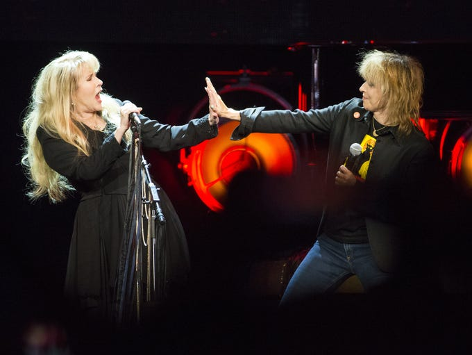 Stevie Nicks (left) is joined by Chrissie Hynde of