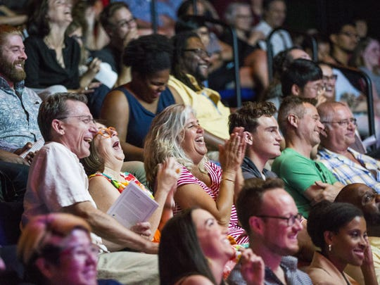 Guests listen and laugh during a Storytellers Project event June 14, 2017, in Phoenix, Arizona.