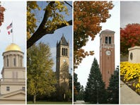 Fall colors on the campuses of the University of Iowa, Iowa State University, the University of Northern Iowa and Drake University.