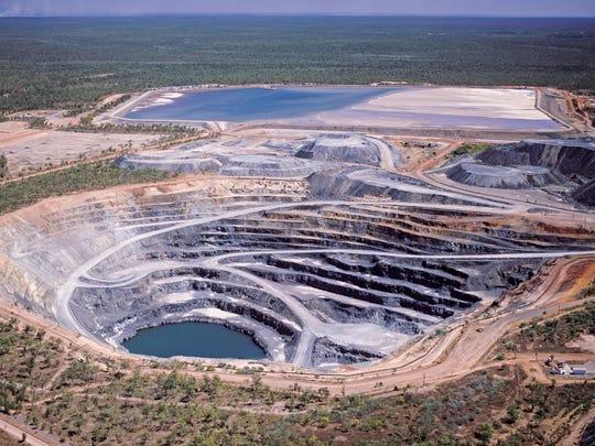 An aerial view of a uranium mine.