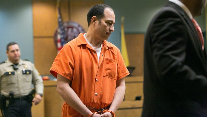 Former El Paso County Judge Anthony Cobos appears Friday in 3rd Judicial District Court in Las Cruces for sentencing after he was found guilty on one count of embezzlement over $20,000 centered around a sale of property to a Chaparral couple. Cobos received a nine-year suspended sentence with five years' probation to begin after his federal sentence ends.