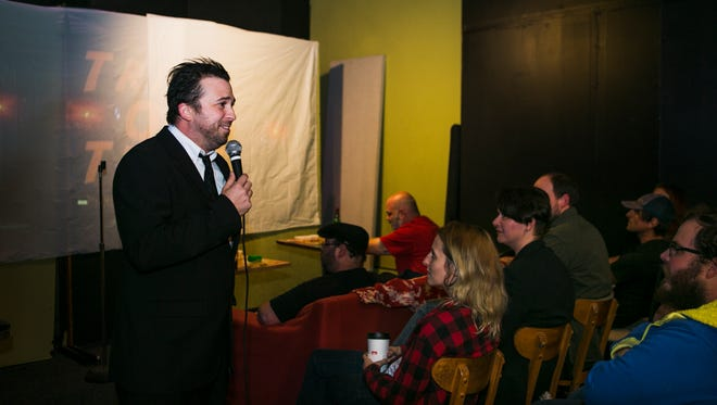 """October 21, 2016 - Comedian Josh McLane entertains an audience before the viewing of horror film, """"Trick or Treat,"""" at Rocket Science Audio, located at 1583 Madison Ave. The event is a monthly free/donation gathering called """"Dammit Scotty and Cousin Will Present Dirty Movies."""""""