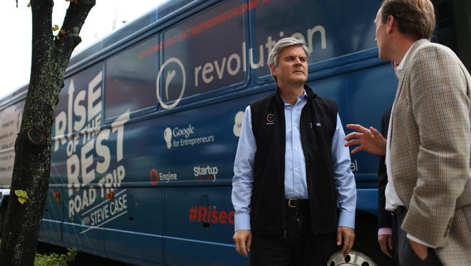 AOL co-founder Steve Case is pictured here in Buffalo, NY, during his 2015 Rise of the Rest bus tour. Case argues that the next wave of technological advancement will come in small and mid-size cities across middle America.