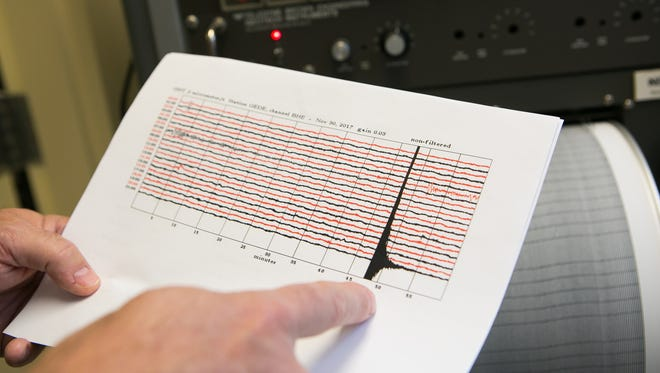 Peter McLaughlin Jr., senior scientist at the Delaware Geological Survey at University of Delaware shows the seismic recording of November's earthquake in Delaware.