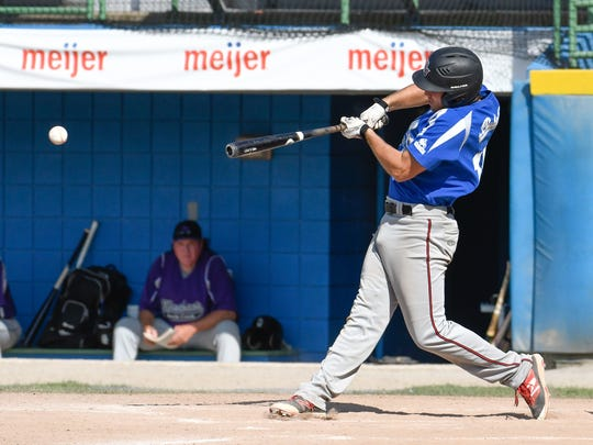 HBC's Aaron Fadden at bat during Sunday's match up against rival BC Merchants.