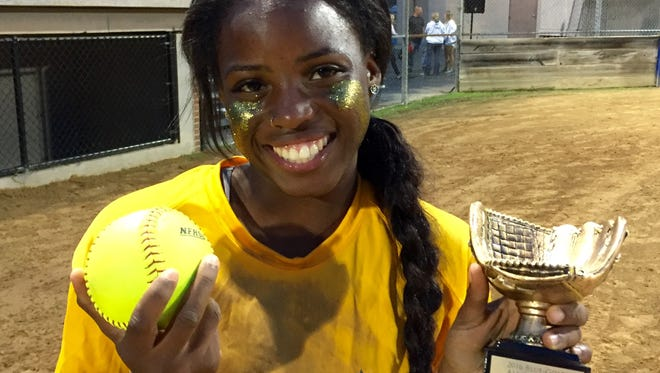 Caesar Rodney's Rosa'Lynn Burton was named Gold MVP after getting two hits, stealing two bases and scoring two runs in her team's 6-5 win in the Blue-Gold softball game.