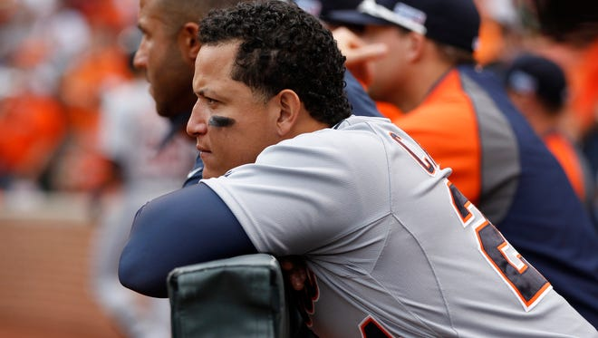 Detroit Tigers' Miguel Cabrera watching as the Baltimore Orioles pitcher warms up to close out the ninth inning.