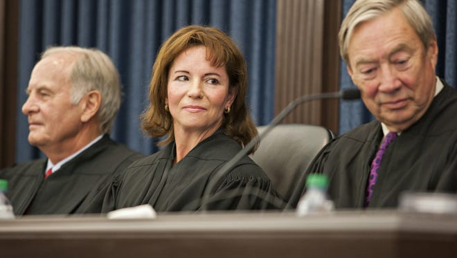 Chief U.S. District Court Judge Christina Reiss sits in federal court in Burlington on Tuesday, June 30, 2015. Reiss is the judge in Jane O'Neill's equal pay lawsuit.