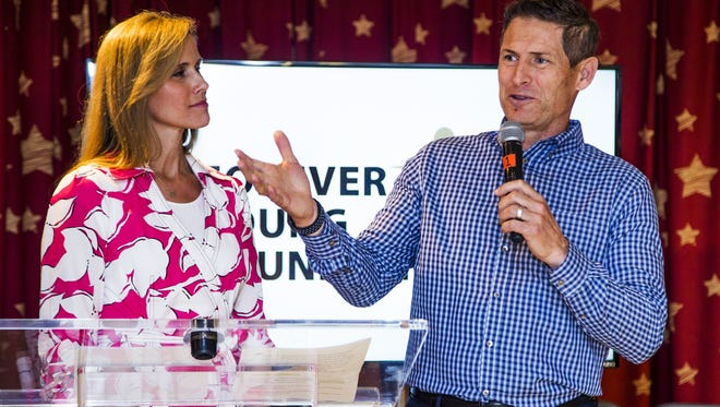 Former NFL quarterback Steve Young and his wife, Barbara, dedicate Sophie's Place, a music-therapy space at Cardon Children's Medical Center, on March 30, 2017.