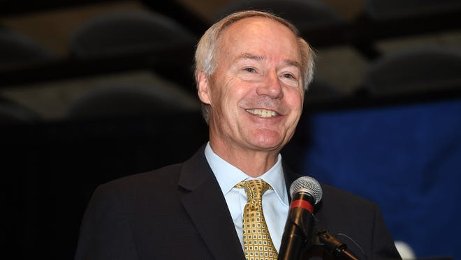 Gov. Asa Hutchinson speaks at Arkansas State University Mountain Home on Thursday, Oct. 15, 2015. Hutchinson was on hand for the announcement of 225 new jobs at Baxter International in Mountain Home.
