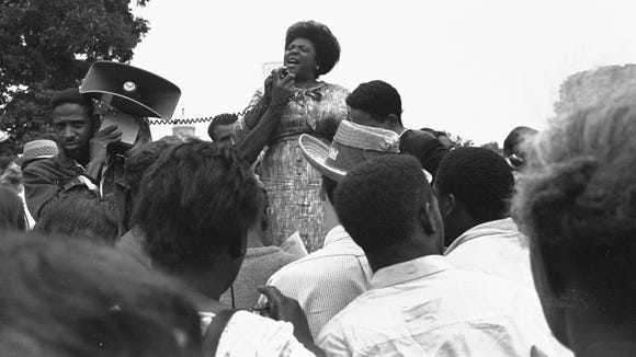 Fannie Lou Hamer speaks to Mississippi Freedom Democratic Party members and supporters outside the U.S. Capitol on Sept. 17, 1965.