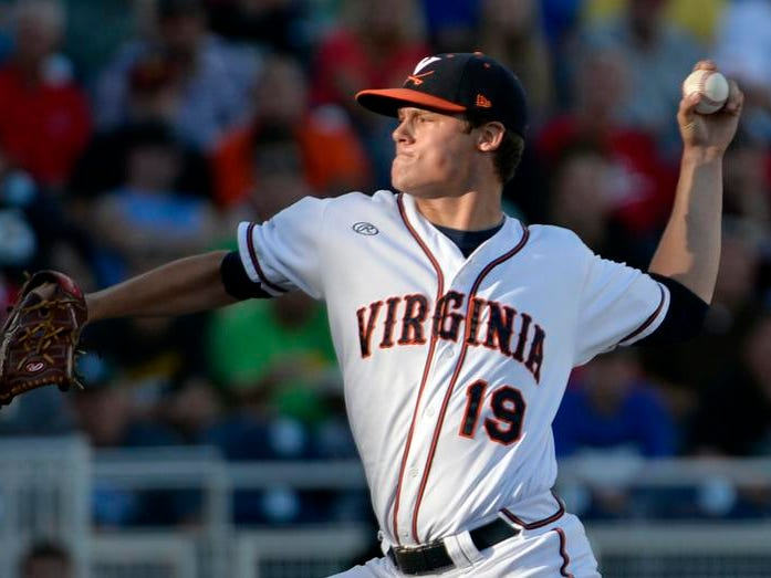 Virginia pitcher Nathan Kirby delivers against Vanderbilt on Monday in Omaha, Neb.