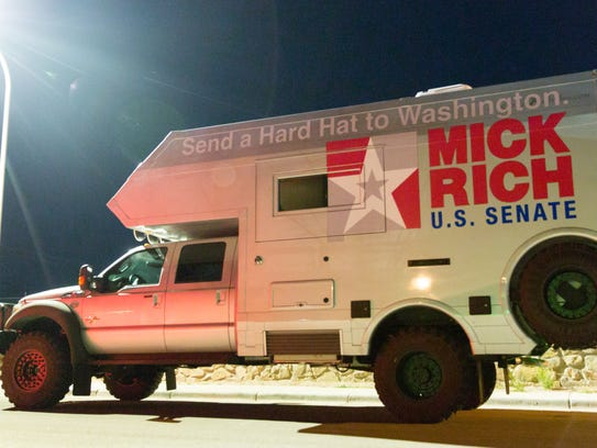 "Mick Rich travels in ""The Beast,"" while crisscrossing New Mexico and campaigning for U.S. Senate. Here, the truck is parked outside of his town hall at the Dream Center in Las Cruces on Friday March 9, 2018."