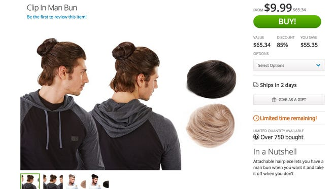 """Groupon is offering the """"clip in man bun"""" for $9.99 in shades of black, brown or blonde artificial hair.  The buns are valued at $65.34 and are targeted for the """"man who wears many hats, but no bun."""""""
