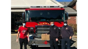 Papa Gino's gave free pizzas to the Norwell Fire Department Oct. 16 through their Fire Safety Month programming.