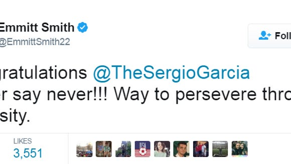 Emmitt Smith had a bad typo in his otherwise very nice tweet to Sergio Garcia