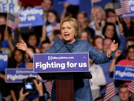 Democratic presidential candidate Hillary Clinton speaks during a rally on Tuesday in West Palm Beach, Fla.
