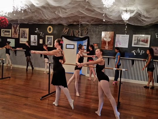 "On Pointe dancers Jerilee Kent, McKenzie Lemos, Karla Coffman and Kayleigh McCain-Thicke audition Saturday for December's ""Nutcracker"" production at Yerington's Studio Academy of Dance and Music in Weed Heights."