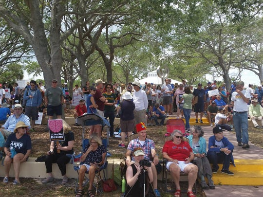 A crowd gathers for the March for Science in Titusville.