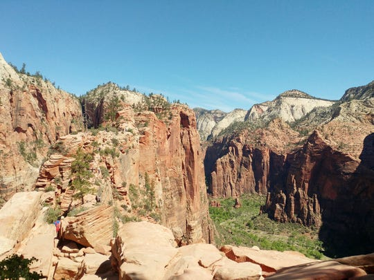 Portions of the trail are just a few feet wide with thousand-foot drop-offs on both side