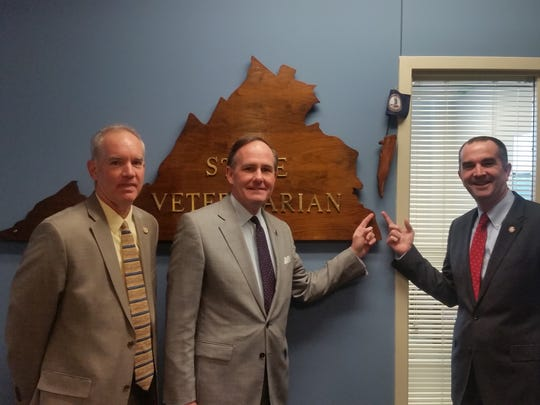 The missing Eastern Shore is back on the map outside the State Veterinarian's office in Richmond at a ceremony attended by Lt. Gov. Ralph Northam, State Veterinarian Richard Wilkes, Sen. Lynwood Lewis and Delegate Rob Bloxom Jr.