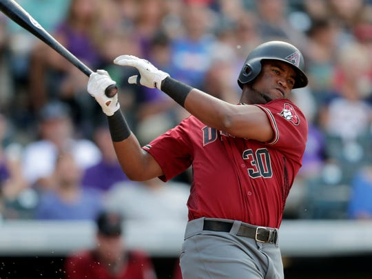 Arizona Diamondbacks' Socrates Brito fouls off a pitch