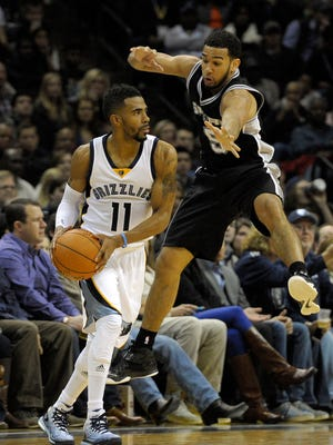 Mike Conley handles the ball against Spurs guard Cory Joseph.