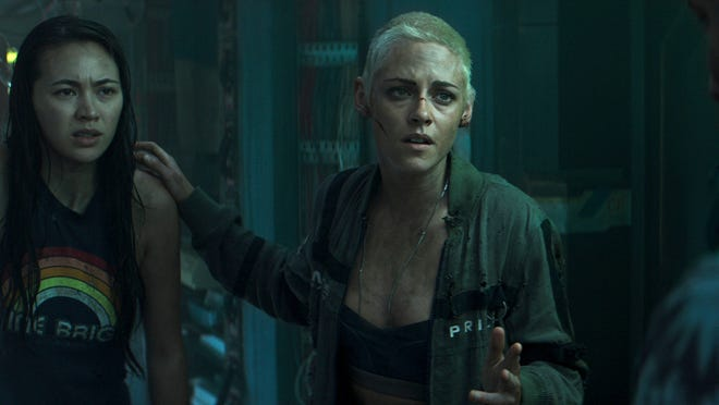 """This image shows Jessica Henwick, left, and Kristen Stewart in a scene from """"Underwater."""""""