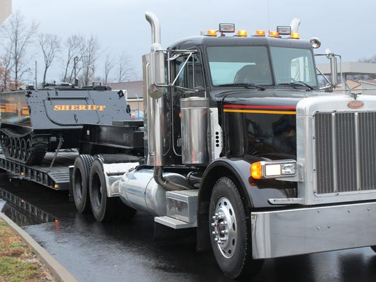 """""""The Tank,"""" seen mounted on a transport vehicle so that it could be transferred to the Jackson County Sheriff's Office."""
