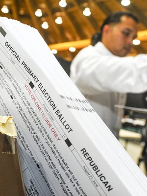 Primary Election ballots are aligned in a paper jogger in this file photo.
