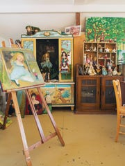 Doll artist and storybook author Nancy Wiley's home studio.