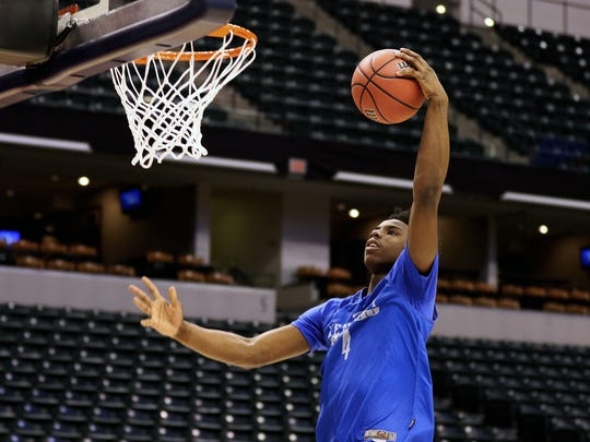 The University of Kentucky's Hamidou Diallo during practice at Bankers Life Fieldhouse in Indianapolis Thursday March 16, 2017. Number 2-seed Kentucky faces the No. 15 seed NKU in the South Region and will play in the opening round of the NCAA Men's Basketball Championship in Indianapolis on Friday.