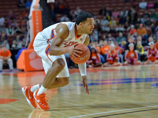 Clemson's Avry Holmes looks for a lane during the first half against Wofford on Dec. 6, 2015 at Bon Secours Wellness Arena.