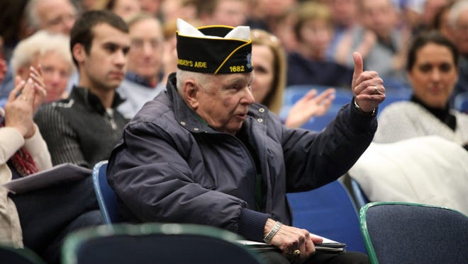 Bill Mahan, 85, of New City, a Korean War veteran, gives a thumbs-up after speaking at a Clarkstown school board meeting in 2015, advocating for the district to give veterans a partial exemption on school property taxes.