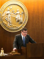 North Carolina Speaker of the House Tim Moore speaks during a special session of the North Carolina General Assembly in Raleigh, N.C., Wednesday, Dec. 21, 2016. North Carolina's legislature is reconvening to see if enough lawmakers are willing to repeal a 9-month-old law that limited LGBT rights, including which bathrooms transgender people can use in public schools and government buildings.