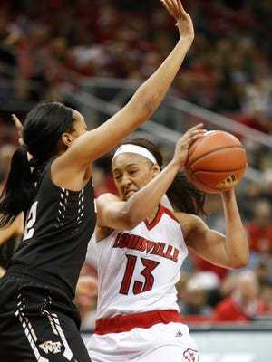 Louisville's Cortnee Walton manuevered for a shot against Wake Forest. Jan. 31, 2016
