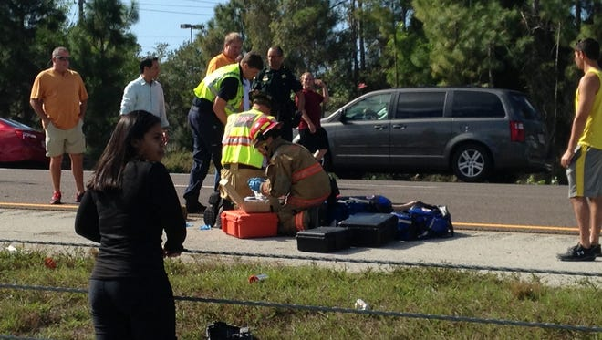 The scene of a rollover crash at Alico Road exit, 128. The crash occurred Sunday morning, Jan.4.