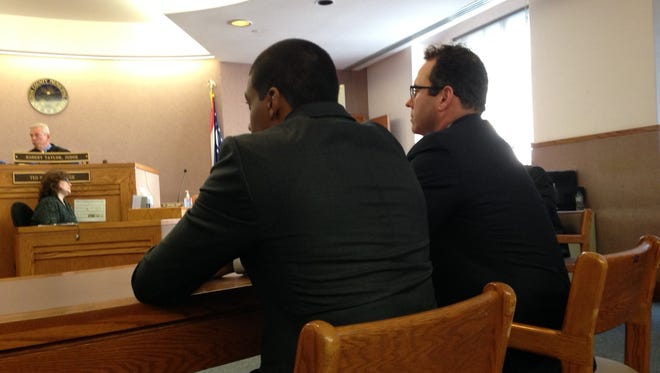 Jarred Evans (left) and his attorney, Paul Laufman, in court earlier this week.