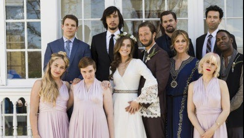 The whole gang at Marnie's wedding.