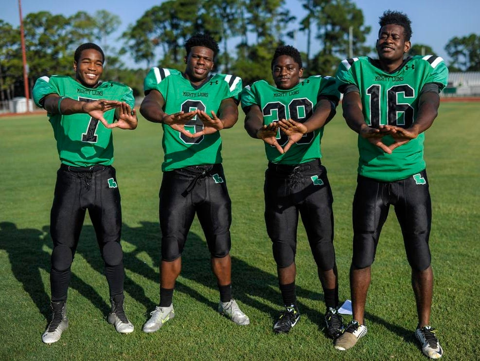 Lafayette High secondary of Luther Brooks (7), Troy Williams (9), Thaquan Priestley (39) and Uche Utomi (16) is hoping to catch many a pass from opposing quarterbacks this season.