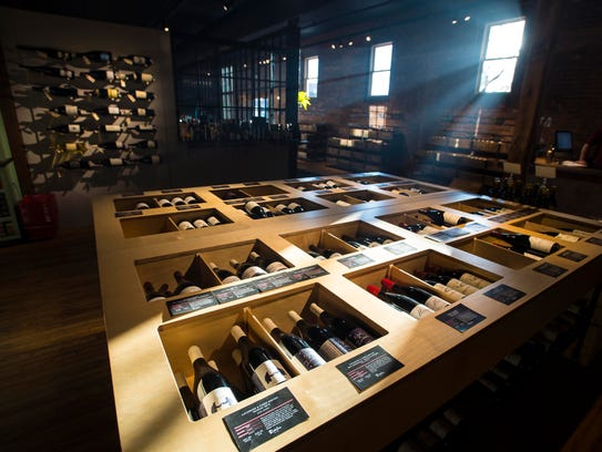The wine market at the new Dedalus Wine Shop location