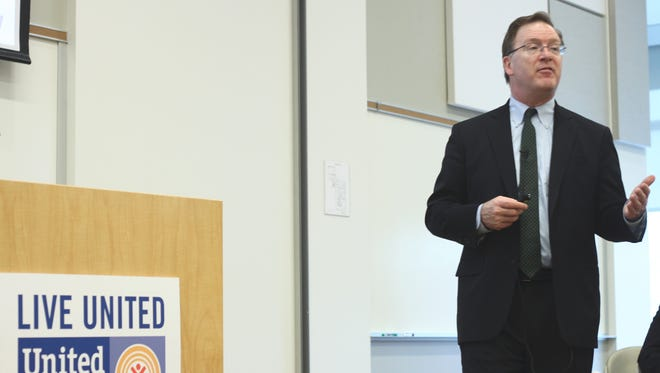 Robert Doar, the Morgridge Fellow in Poverty Studies at the American Enterprise Institute, a Washington, D.C. think tank, speaks to community leaders at United Way on Thursday morning.
