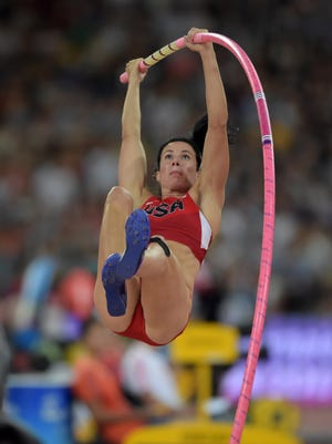 Jenn Suhr (USA) ties for fourth in the women's pole vault at 15-5 (4.70m) during the IAAF World Championships in Athletics at National Stadium in Beijing, China on Aug 26, 2015.