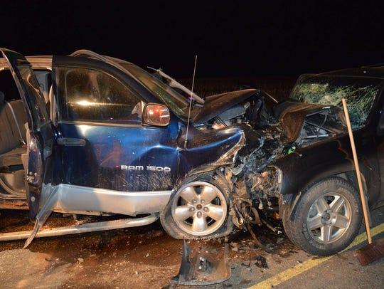 Three people were injured in a three-vehicle crash