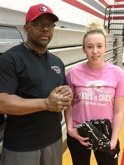 First-year Clarenceville softball coach Ed Young returns sophomore second baseman Mary Hammond (right).