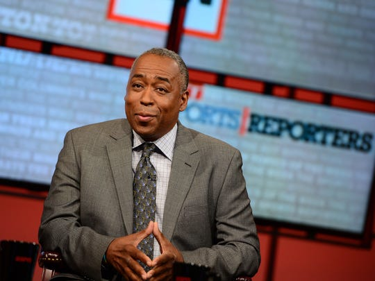 """In this May 12, 2013, photo provided by ESPN Images, John Saunders poses on the set of ESPN's """"The Sports Reporters."""""""